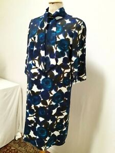 ROBE D'HIVER 1/2 MANCHES roses T.38 VINTAGE 60 DRESS size S