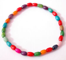 Handmade Mixed Colour Wood Beaded Elasticated Ankle Bracelet Anklet Wooden