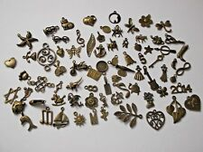100 ANTIQUE BRONZE METAL CHARMS Randomly Picked From Photos