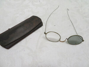 Antique Eye Glasses Alumnico Metal Frame Clear & Brown Tint lense with Case