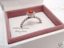 JULY BIRTHDAY BLOOM Authentic PANDORA Silver/Orange CARNELIAN Ring Sz 9/60 NEW