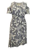 New Size 12,16,18,20,22 Pretty Navy Printed Cold Shoulder Mock Wrap Dress (b11)