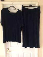Navy Slinky Velvet Look Long Skirt & Matching Top Size XL By WEEKENDERS