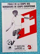 1989-Copa Taza de ganadores programa final-Barcelona v Sampdoria