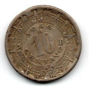 Mexico 1946, outer circles of the Mexican, or Aztec/Sun Stone, 10 cents
