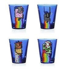 NYAN CAT BLUE ART SHOT GLASS SET NINJA ZOMBIE FIESTA TACO DOG LICENSED LOT OF 4