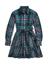 Polo Ralph Lauren Green Plaid Flannel Cotton Shirtdress, Long Sleeve Girls sz 5