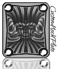 Black Engraved Psychadelic Guitar Neck Plate  fits Fender tele/strat/squier