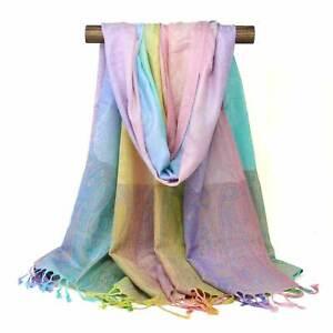 Paisley Pashmina Scarf Pastel Color Rainbow Light Weight Wrap Rave Women Shawl