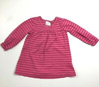 Hanna Andersson Girls Pink Striped Knit Cotton Dress 3 90