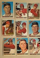 Lot of 9 1966 Topps Cleveland INDIANS vintage cards Max ALVIS, Rocky Colavito,