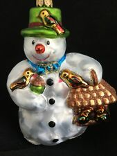 Christopher Radko Snowman With Birdhouse Glass Ornament Christmas