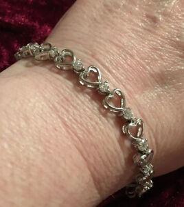 """💙💙Sterling Silver Open Heart & CZ Tennis Bracelet 7""""💙💙"""