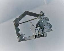 """Far Fetched 1 3/8"""" Sterling Silver Christmas House Scene Brooch Pin"""