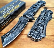 """9"""" TACTICAL Razor Spring Assisted Open Folding Pocket Knife Stonewas CLEAVER New"""