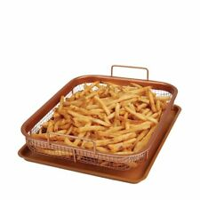 Multi-Purpose Copper Crisper Oven Air Fryer Pan Grill Crisp Tray Non Stick Mesh