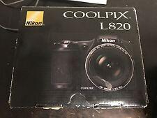 New Black Nikon Coolpix L820 16.0 MP Digital Camera Full HD 1080p Video