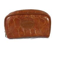 Revlon Zippered Cosmetic Toiletry Travel Bag Men Women Brown Faux Reptile