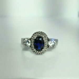 Vintage ADI Blue Sapphire & Clear CZ Gemstone 925 Silver Ring Triple Rope Twist