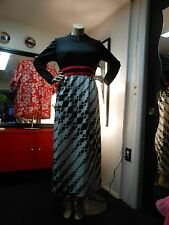 """Vintage Evening Gown Graphic Black White And Red 40"""" Bust 32"""" Waist"""