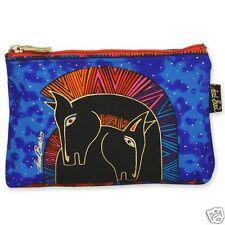 Laurel Burch Embracing Horses Blue Purple Black Canvas Cosmetic Zipper Bag NWT