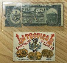 iCuba Vintage Beer Label & 1912 iCuban Gov.t's Warranty For Cigars From Havana