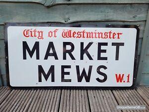 "Genuine 1940s City of Westminster MARKET MEWS W1 London Road Enamel Sign 30""x15"""