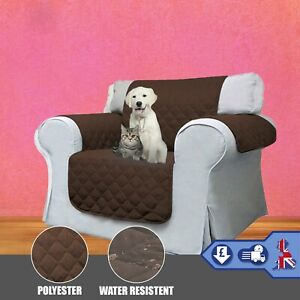 Quilted Chair Cover Pet Protector - Brown (Sofa Seat Throw Sheet Cosy Warm)