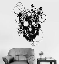 Vinyl Wall Decal Flowers Skull Art Decor Gothic Style Stickers (865ig)