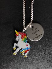 "I REALLY AM A UNICORN  Necklace 18"" Silver plated Chain Enamel Charm Gift"