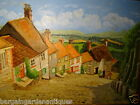"""Fine Art Original Oil Board Shaftesbury """"Gold Hill""""Town Scene Painting Signed"""