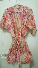Floral Pink/White Lingerie Wrap Over with Belt Medium
