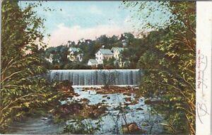 UDB Hugh Leighton postcard 1905 , waterfall, Bond Brook, Maine