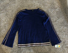 Alfani Womens Blue Striped Bell Sleeves Pullover Sweater Top L