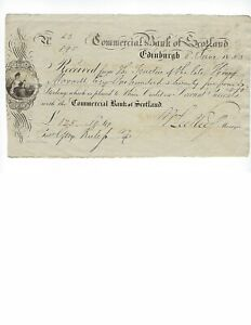 SCOTLAND  COMMERCIAL BANK OF SCOTLAND  1853   NICE ENGRAVING    VF