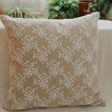 Lace Overlay Cushion Pillow Cover Shabby Chic Country Farmhouse French Linen