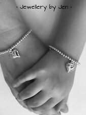 Mother And Daughter Set Silver Plated Stretch Handmade Bracelets Heart Charm 💕