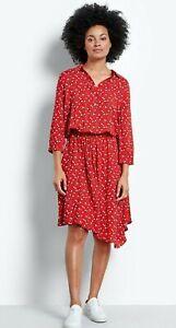 HUSH Red Floral Donna Shirt Dress UK 14 Asymmetric Hem Elastic Waist 3/4 Slvs