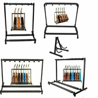 Guitar Bass Holder Stage Folding Floorstand Rack Holds Up to 1/3/5/7/9 Guitar