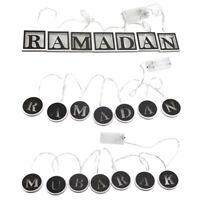 Islamic Eid Ramadan Muslim Wood LED String Light Decor Hang Ornament Lamp #UK