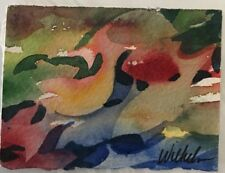 Mini Original Watercolor By Pamela Wilhelm Whimsical Abstract Colorful Fish