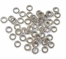 48 Antiqued Silver Plated Pewter Rondelle Beads 9x2mm 4.5mm Hole Metal