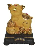 """8"""" Chinese Zodiac Golden Pig Statue w/ Wealthy Pot for Lunar Year of Pig"""