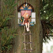 Tinkerbell Fairy Sitting in Window Tree Hanger Hugger Garden Statue