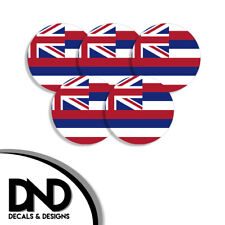 Hawaii State Flag HI Circle Sticker USA Helmet Decal 5 Pack 2.5in