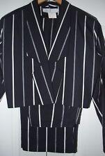 DEBBIE SHUCHAT $749 Women's 2 Piece Black Striped Work Cocktail Pant Suit & Vest