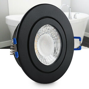 LED Einbaustrahler Feuchtraum Schwarz flach geringe Tiefe 25mm Spot IP44 230V