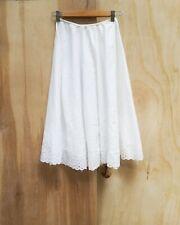 Vintage White Cotton Eyelet Trim Half Slip Summer Skirt~Petticoat Full circle S