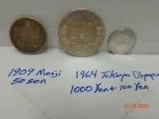 Japan Coin Lot 1964 1000 yen & 100 yen & 1909 50 sen Meiji