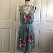 Lil Anthropologie Glimmering Magnolia Dress Size 8 Silk Sequins Floral Blue